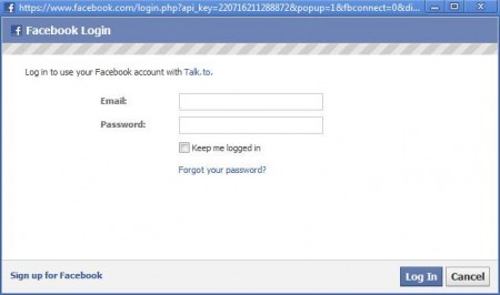 Talk to facebook login