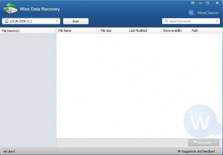Wise Data Recovery default window