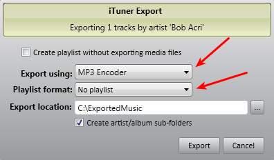 iTuner export music
