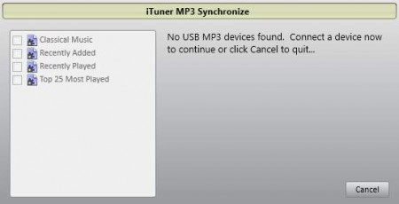 iTuner mp3 device synchronize