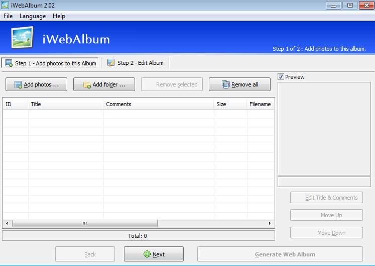 iwebalbum default window