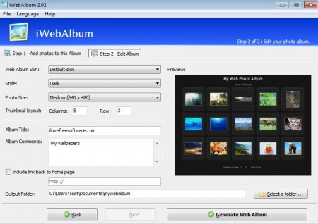 iwebalbum step 2 options