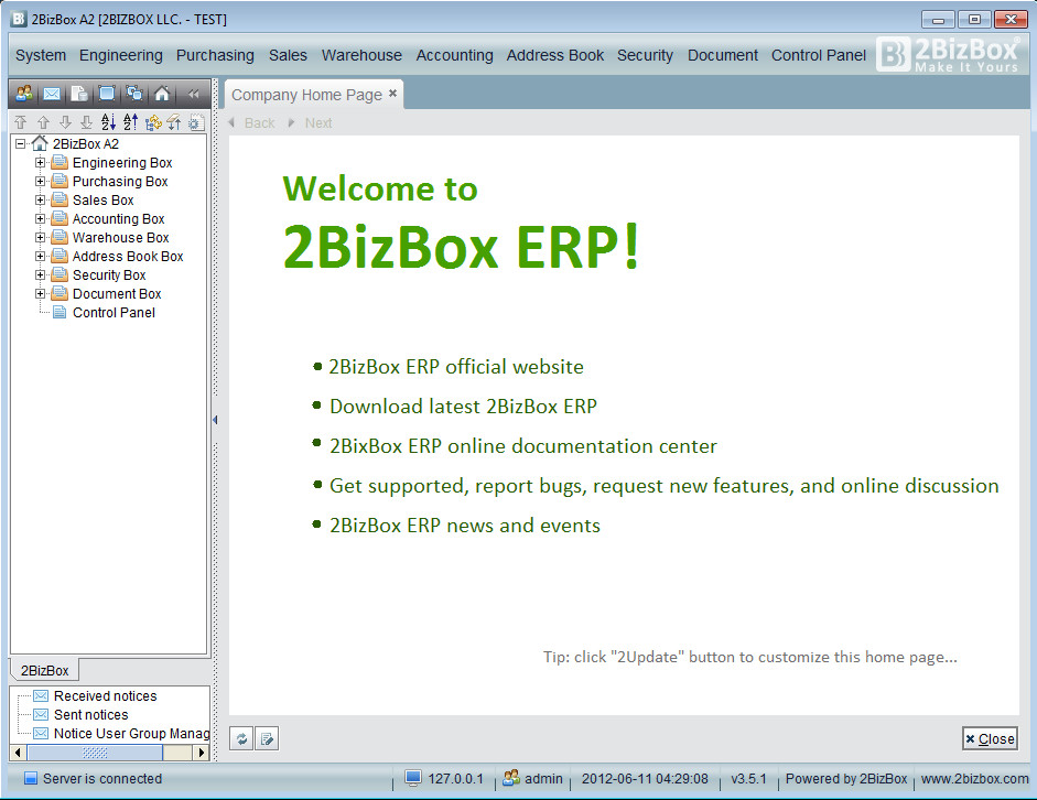 2BizBox A2 default window
