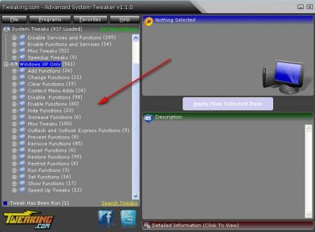 Advanced System Tweaker XP edits