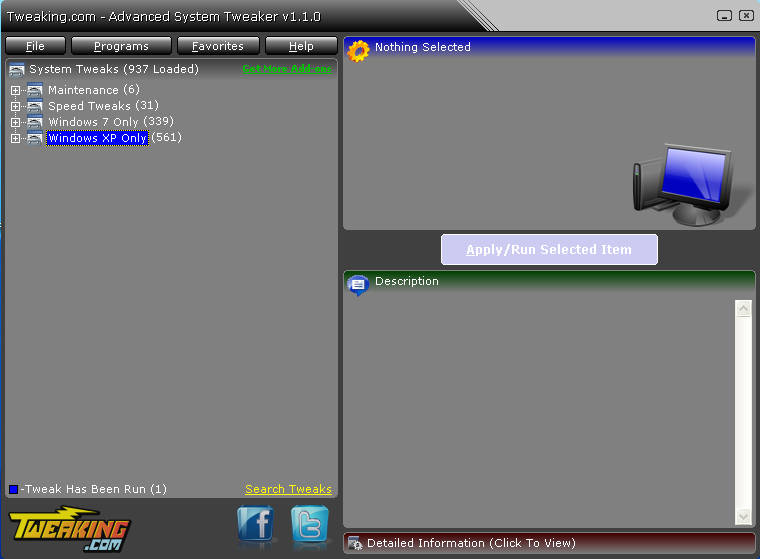 Advanced System Tweaker default window