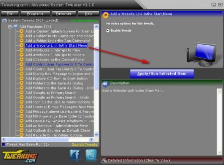 Advanced System Tweaker editing XP