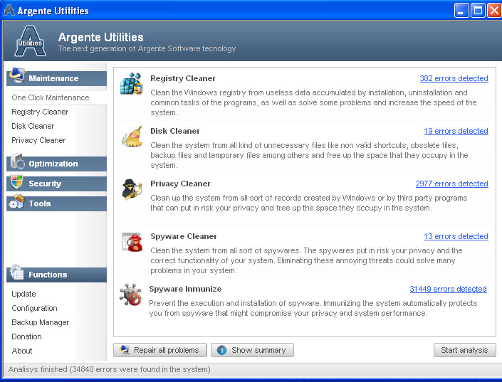 Argente Utilities default screen