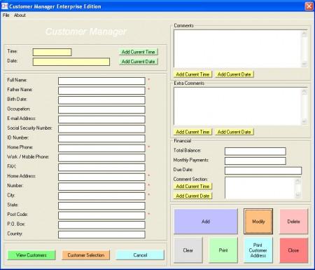 Customer Manager default window