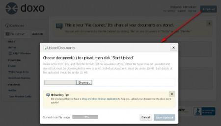Doxo uploading documents