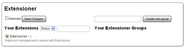 Extensioner default setup