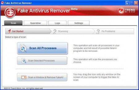 Fake Antivirus Remover default window