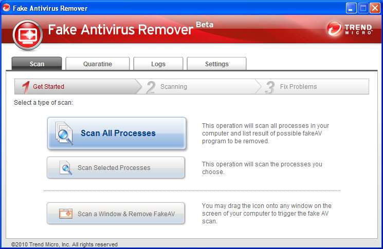Fake Antivirus Remover default window