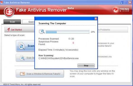 Fake Antivirus Remover scan in progress