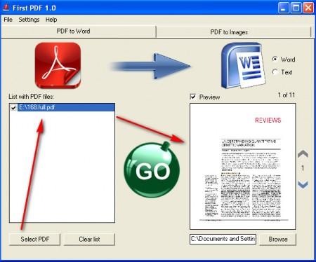 First PDF conversion