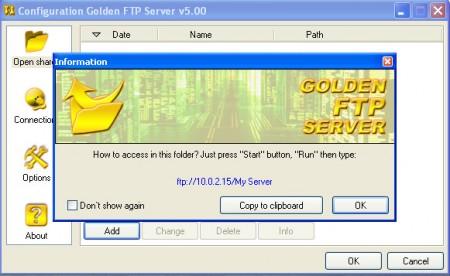 Golden FTP sharing directories IP Address
