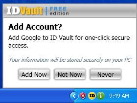 ID Vault add account