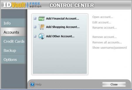 ID Vault default window