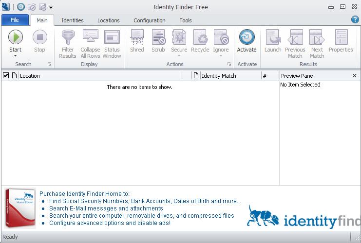 Identity Finder advanced default