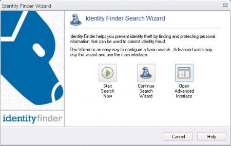 Identity Finder default window