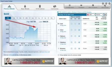 Kcast for Windows 7 gold price tracking
