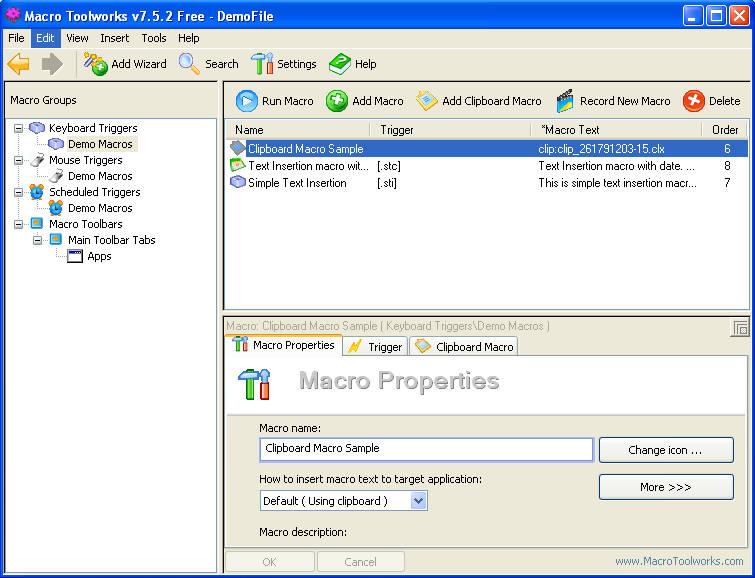 Macro Toolworks default window