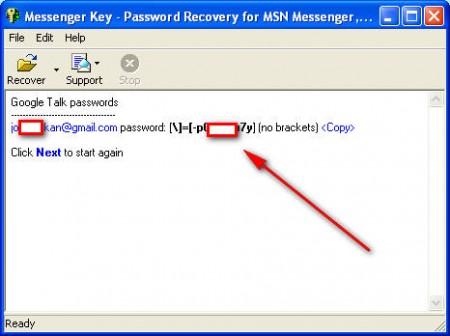 Messenger Key password recovered