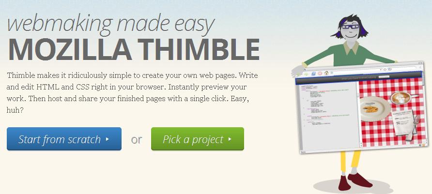 Mozilla Thimble default window