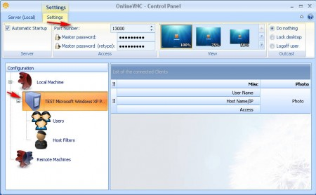 OnlineVNC server settings