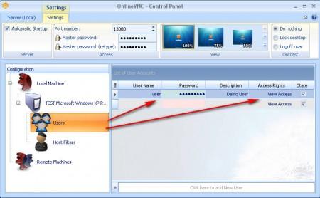 OnlineVNC user access