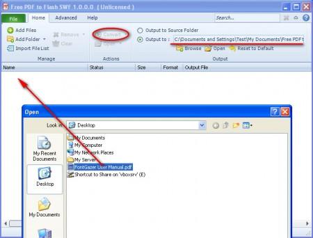 PDF to Flash opening file