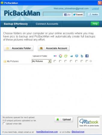 PickBackMan folder account setup