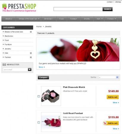PrestaShop categories