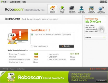 Roboscan default window