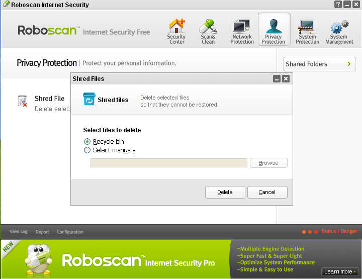 Roboscan file shredding
