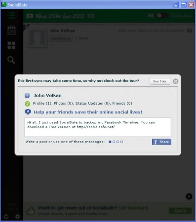 SocialSafe default window