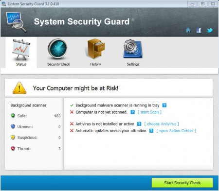 System Security Guard default window