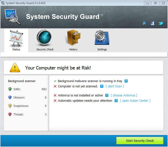 System Security Guard default window