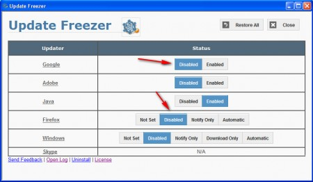 Update Freezer changing options