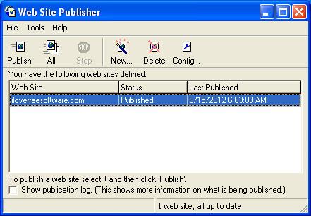 Web Site Publisher default window