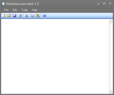 Worthless text editor default window