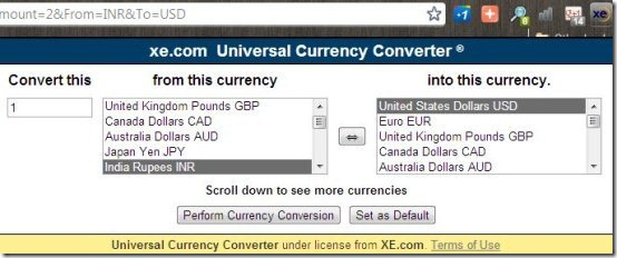 XE Currency Converter Extension