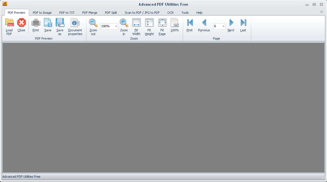 Advanced PDF Utilities Free default window