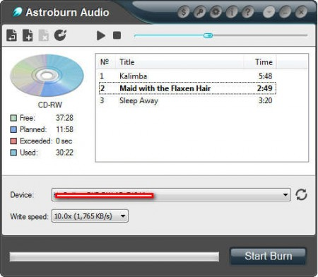 Astroburn Audio burning audio cd