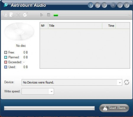 Astroburn Audio default window