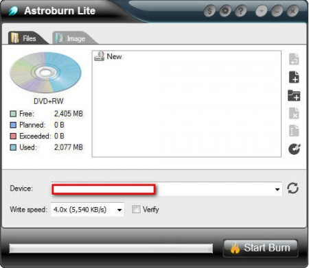 Astroburn Lite burning disc