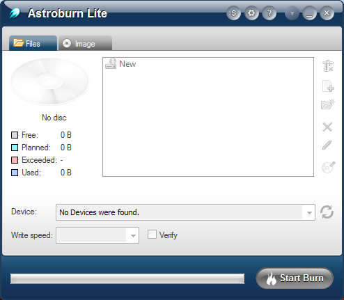 Astroburn Lite default window