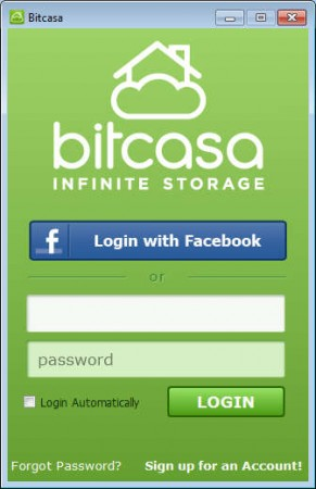 Bitcasa login window