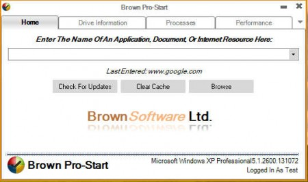 Brown Pro Start default window