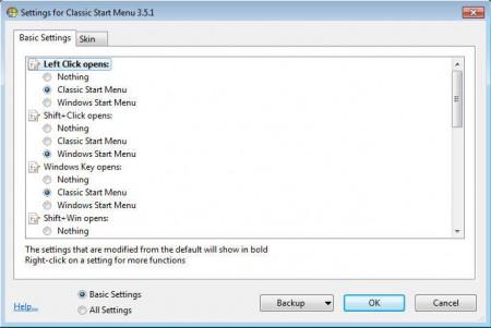 Clssic Shell start menu settings