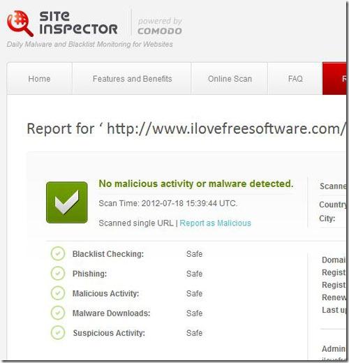 Comodo IceDragon Site Inspector